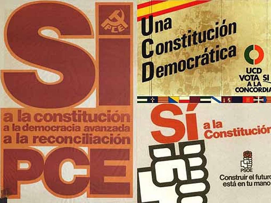 Carteles a favor de la Constitución del PCE y PSOE durante la campaña del referéndum /Lanza
